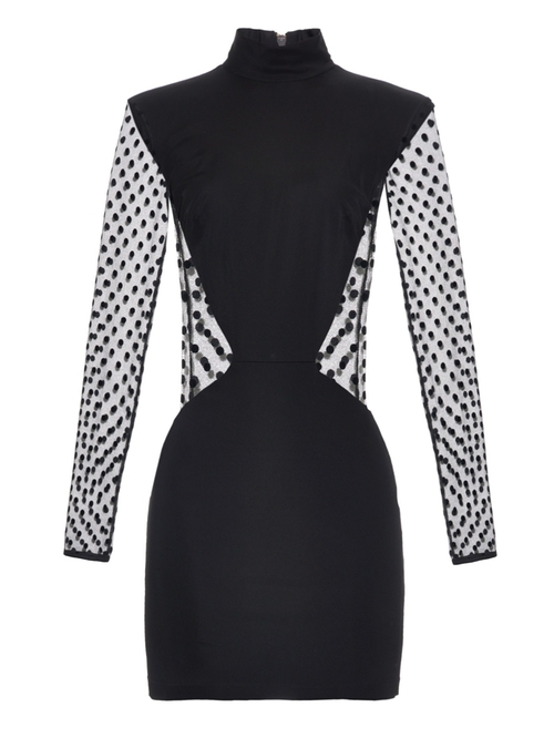 Long-Sleeved Polka-Dot Mini Dress by Balmain in Keeping Up With The Kardashians - Season 11 Episode 8