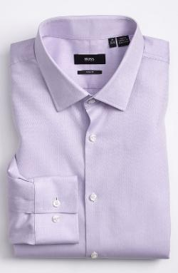 'Jenno' Slim Fit Herringbone Dress Shirt by BOSS HUGO BOSS in Million Dollar Arm