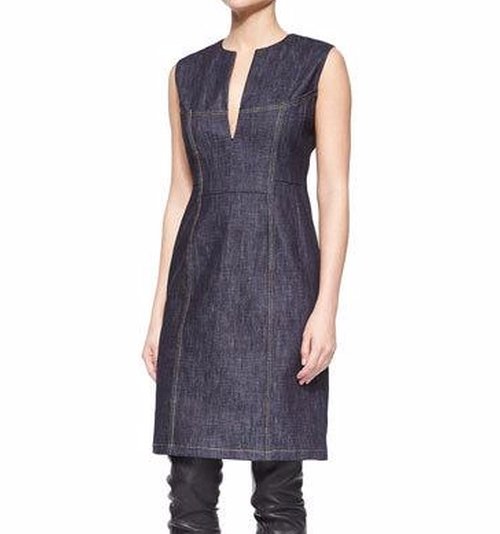 Denim Split-Neck Sheath Dress by Derek Lam in Empire - Season 3 Episode 4
