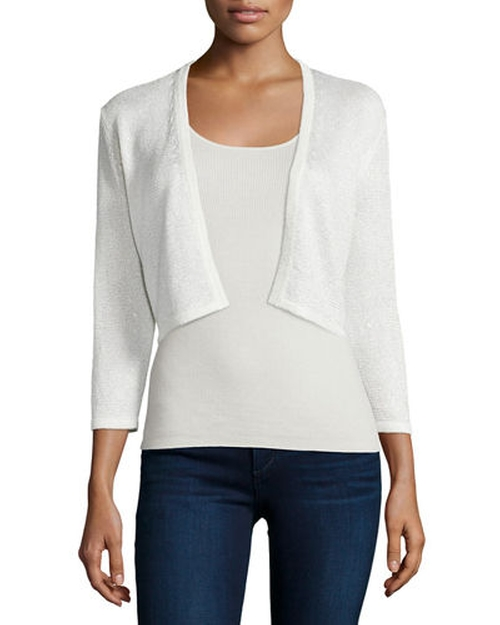 Sequined Silk-Blend Shrug by Neiman Marcus Cashmere Collection in Keeping Up With The Kardashians - Season 11 Episode 4