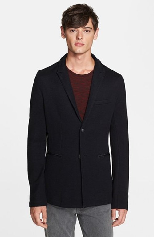 Slim Fit Knit Blazer with Leather Trim by John Varvatos Star USA in Crazy, Stupid, Love.