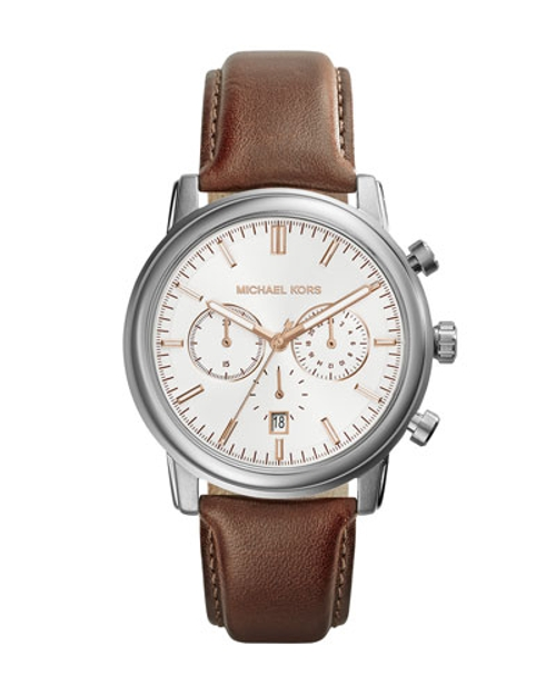 Leather Pennant Chronograph Watch by Michael Kors	 in Fight Club