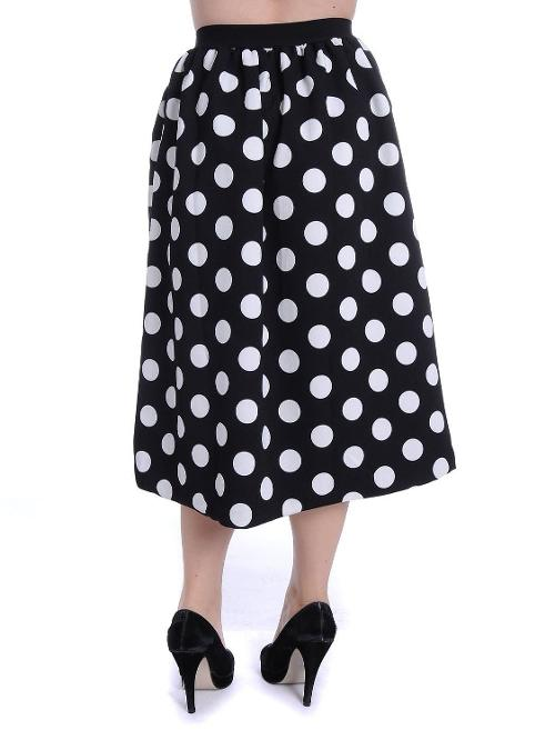 Fit White & Black All Over Polka Dot Retro Style Midi Length Skirt by Anna Kaci in And So It Goes