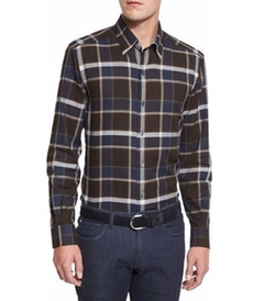 Large-Plaid Sport Shirt by Ermenegildo Zegna in The Ranch
