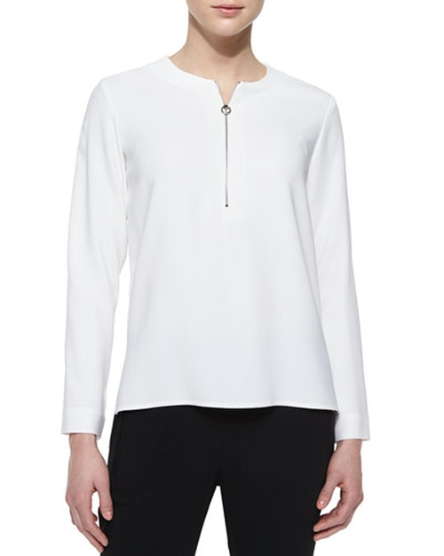 Zip-Front Long-Sleeve Blouse by Stella Mccartney in Keeping Up With The Kardashians - Season 11 Episode 5