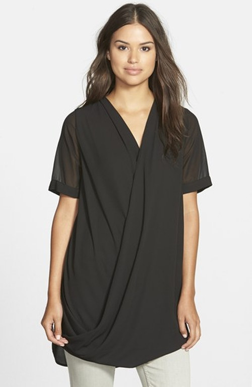 Faux Wrap Tunic Blouse by Pleione in Pretty Little Liars - Season 6 Episode 7