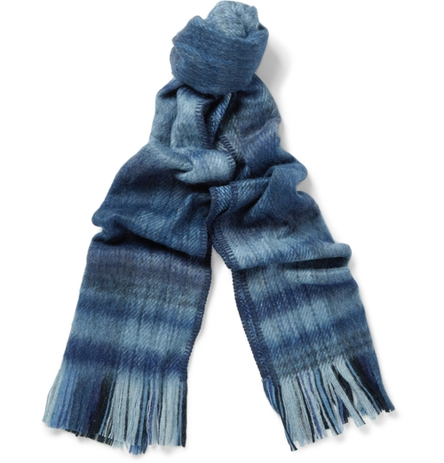 Plaid Brushed Wool-Blend Scarf by Our Legacy in Love the Coopers