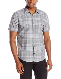 Plaid Short-Sleeve Button-Up Shirt by Calvin Klein in Modern Family