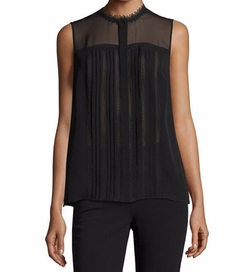 Danae Sleeveless Lace-Trim Silk Blouse by Elie Tahari in The Good Fight