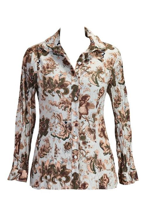 Women's Floral Print Crinkled Voile Shirt by eShakti in Ouija