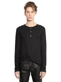 Viscose & Fine Wool Jersey Henley Tshirt by Pierre Balmain in Empire