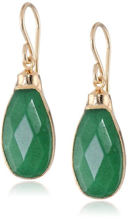 Green Onyx Gold Foil Drop Earrings by Devon Leigh in Everest