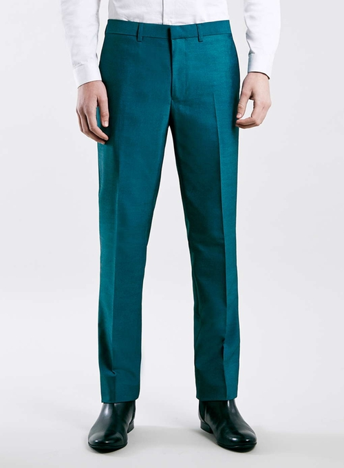 Teal Skinny Fit Tuxedo Pants by Topman in Pretty Little Liars - Season 6 Episode 16