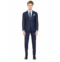 Milano Easy Wool Herringbone Suit by Ermenegildo Zegna in The Boss
