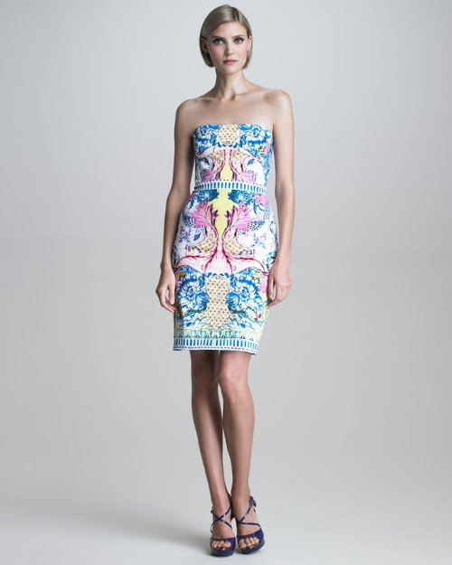 Strapless Nausicaa Print Dress by Roberto Cavalli in The Other Woman