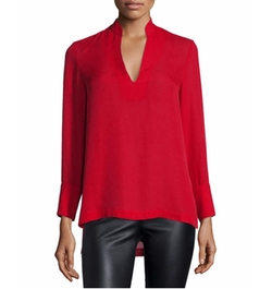 Daina High-Low Silk Blouse by Alice + Olivia in Silicon Valley