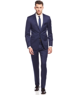 New Navy Chino Extra Slim Fit Notch Lapel Suit by DKNY in Elementary
