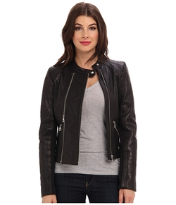 Zip Leather Moto Jacket by Sam Edelman in Supergirl