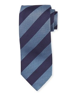 Wide Texture Diagonal Stripe Silk Tie by Hugo Boss in The DUFF