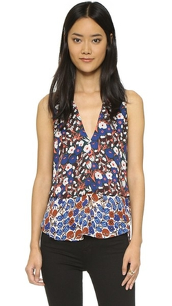 Sleeveless Tiered V Neck Blouse by Derek Lam 10 Crosby in Empire