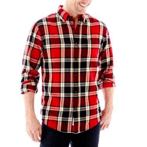 Long-Sleeve Plaid Flannel Shirt by St. John's Bay in Savages