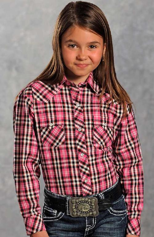 Girls Long Sleeve Plaid Snap Western Shirt by Panhandle Slim in Blended