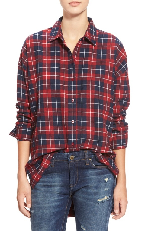 Oversize Plaid Button Front Shirt by J.O.A. in The Boy