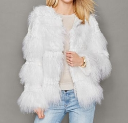 Rabbit-Trim Knitted Lamb Fur Jacket by The Fur Vault in The Infiltrator