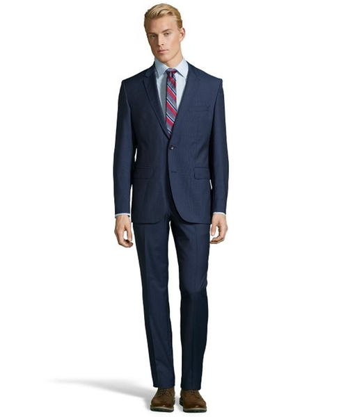 Medium Blue Microcheck Super 100s Virgin Wool 2-Button 'James 3 / Sharp 5' Suit With Flat Front Pants by Hugo Boss in Suits - Season 5 Episode 8