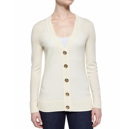 Simone Button-Front Wool Cardigan by Tory Burch in Riverdale