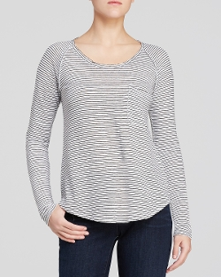 Striped Scoop Neck Tee by Eileen Fisher in Thor