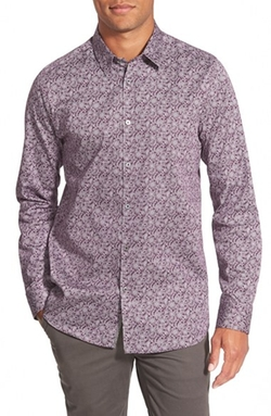 'Florall' Fit Sport Shirt by Ted Baker London in Rosewood