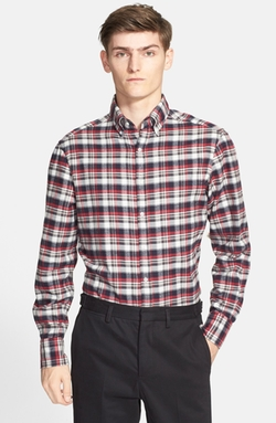 Trim Fit Plaid Flannel Shirt by Michael Bastian in New Girl