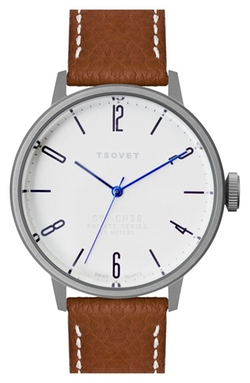 Round Leather Strap Watch by TSOVET in Quantico