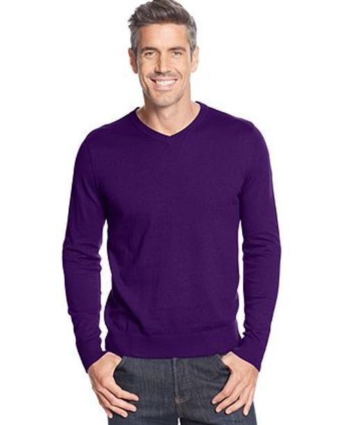 Solid Long-Sleeve V-Neck Sweater by John Ashford in Neighbors