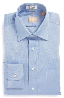Regular Fit Pinpoint Cotton Oxford Point Collar Dress Shirt by Gitman in Dolphin Tale 2