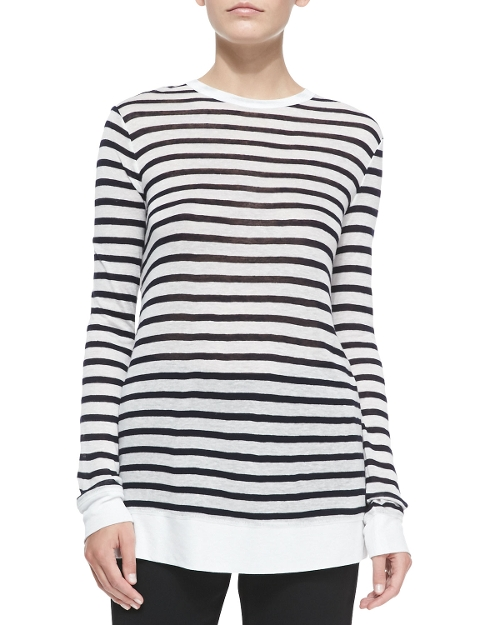 Long-Sleeve Striped Crewneck Tee Shirt by T by Alexander Wang in Poltergeist
