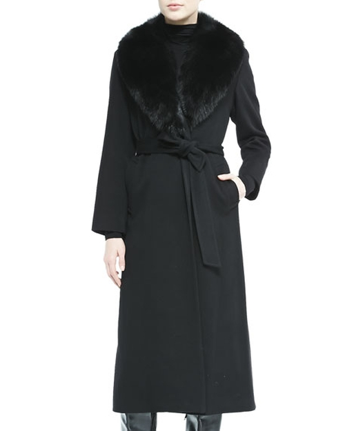 Fur-Collar Belted Long Wrap Coat by Sofia Cashmere in Keeping Up With The Kardashians - Season 12 Episode 6