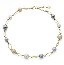 Round Pearl Marquis Link Necklace by Majorica in The Blacklist