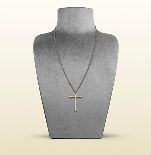 necklace with diamante pattern engraved cross pendant by GUCCI in Jersey Boys