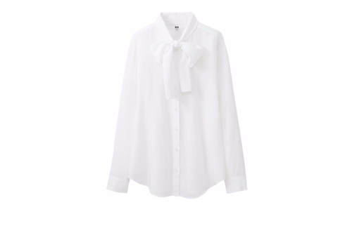 Rayon Bow Tie Long Sleeve Blouse by Uniqlo in Me Before You