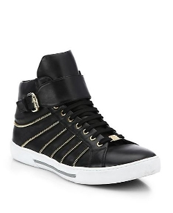 Leather Zip High-Top Sneakers by Versace Collection in Magic Mike XXL