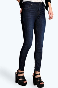Lilly Super Stretch Button Reform Jeggings by Boohoo Blue in Paper Towns