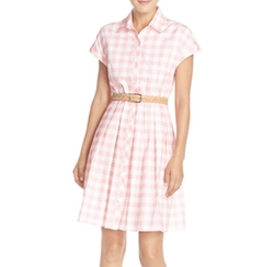 Check Cotton Poplin Shirtdress by Eliza J in New Girl