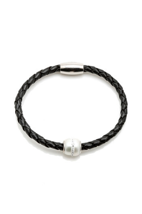 Leather/Pearl Bracelet by Portage in She's Funny That Way