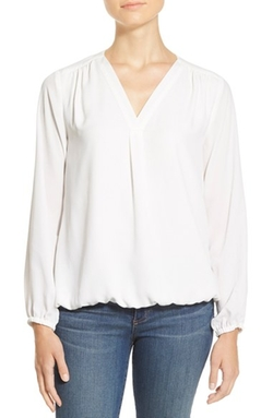 Long Sleeve V-Neck Blouse by Chaus in Quantico