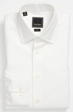 Trim Fit Solid Dress Shirt by David Donahue in Black Mass