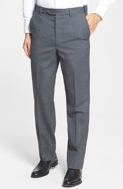 Self Sizer Waist Flat Front Wool Trousers by Berle in McFarland, USA