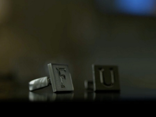 Custom Made FU Cufflinks (Frank) by Johanna Argan (Costume Designer) in House of Cards - Season 4 Episode 10