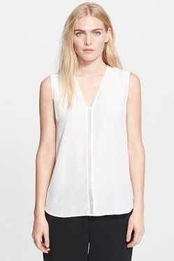 Mesh Insert Silk Shell Blouse by Vince. in Billions